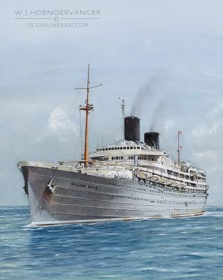 Marine Art ocean liner Willem Ruys